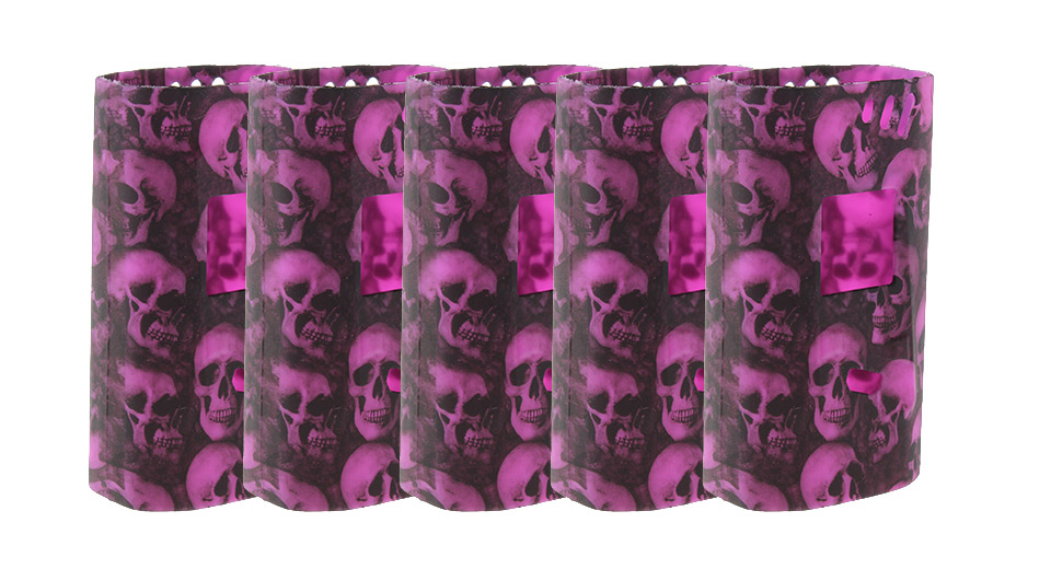 Authentic Clrane Protective Silicone Sleeve Case Smoktech SMOK Alien 220W Mod (5-Pack) 220W, Purple, 5-Pack (skull)