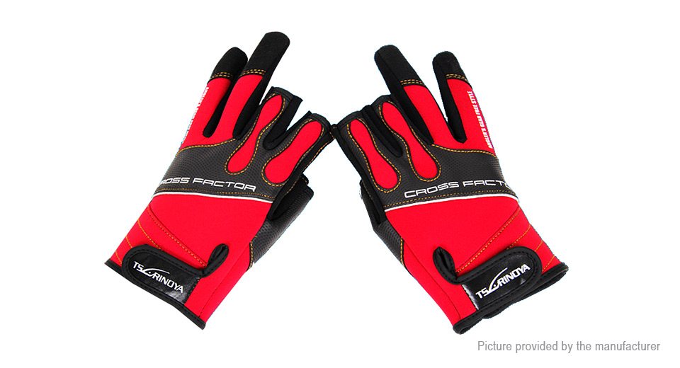 TS RINOYA Outdoor Sports Fishing 3 Cut Finger Gloves (Size L/Pair)