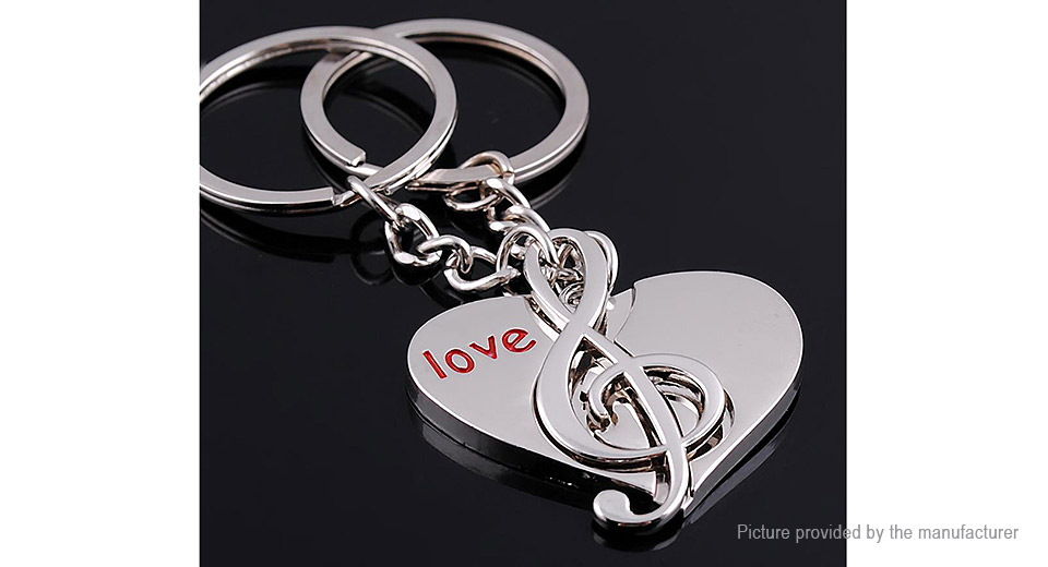 Musical Note & Heart Styled Alloy Couple Key Ring Pendant (2 Pieces)