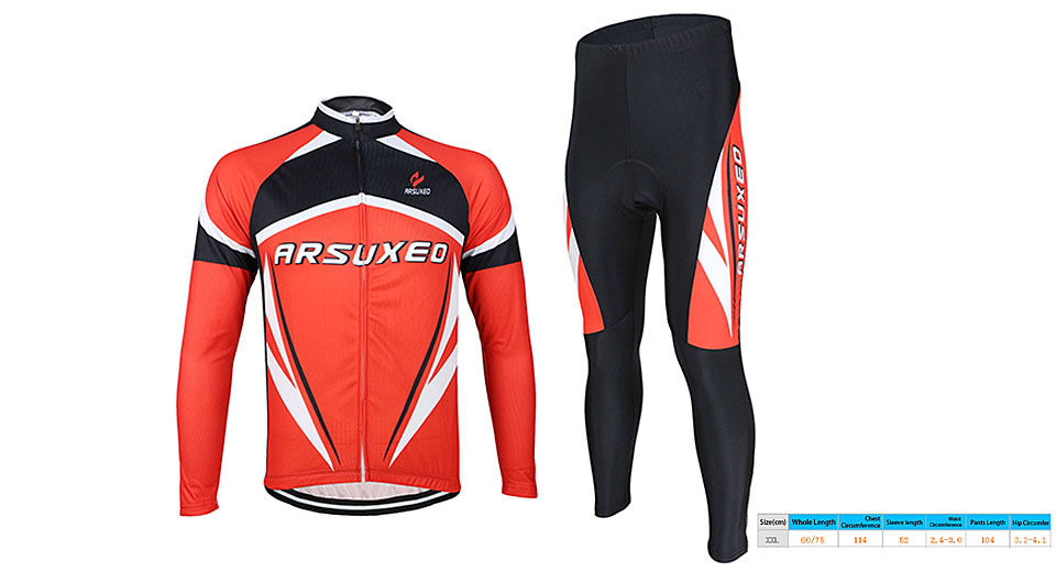 ARSUXEO Men's Outdoor Cycling Long Sleeve Suit Jersey (Size 2XL)