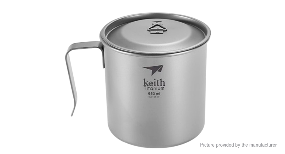 Keith Ti3268 Titanium Single-wall Vacuum Cup Mug (650ml)