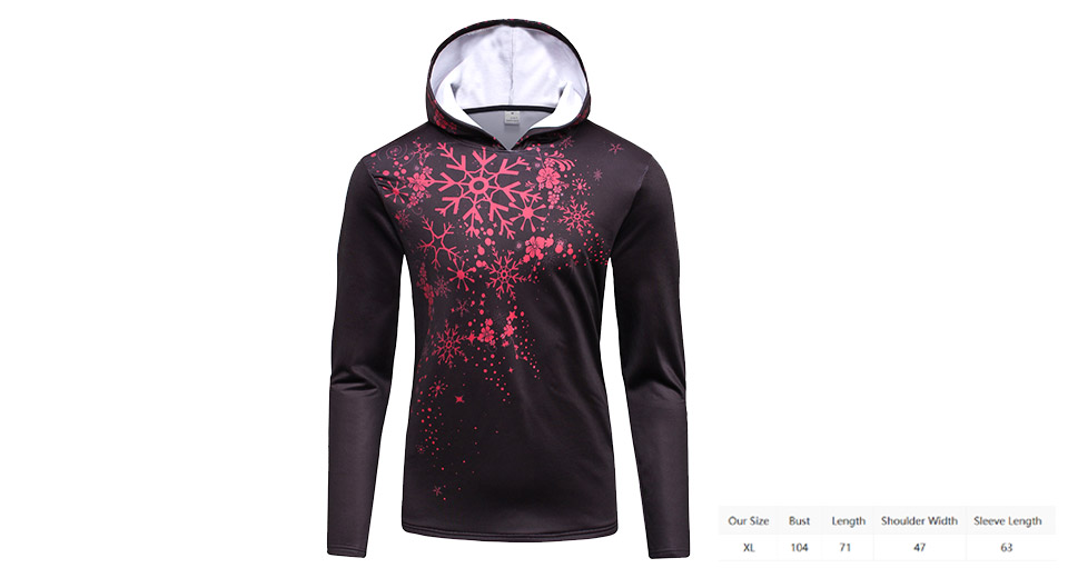 Image of Snowflake Print Thicken Slim Fit Christmas Hoodie (Size XL)