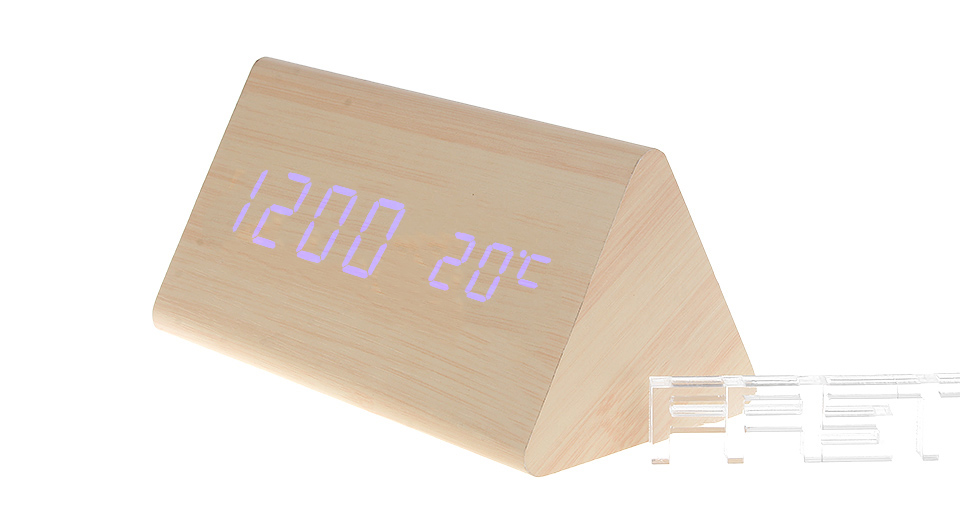 Wooden Triangle Blue LED Digital Alarm Clock Triangle, Light Brown, Blue Character