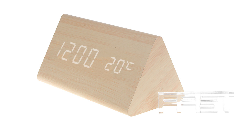 Wooden Triangle White LED Digital Alarm Clock Triangle, Light Brown, White Character