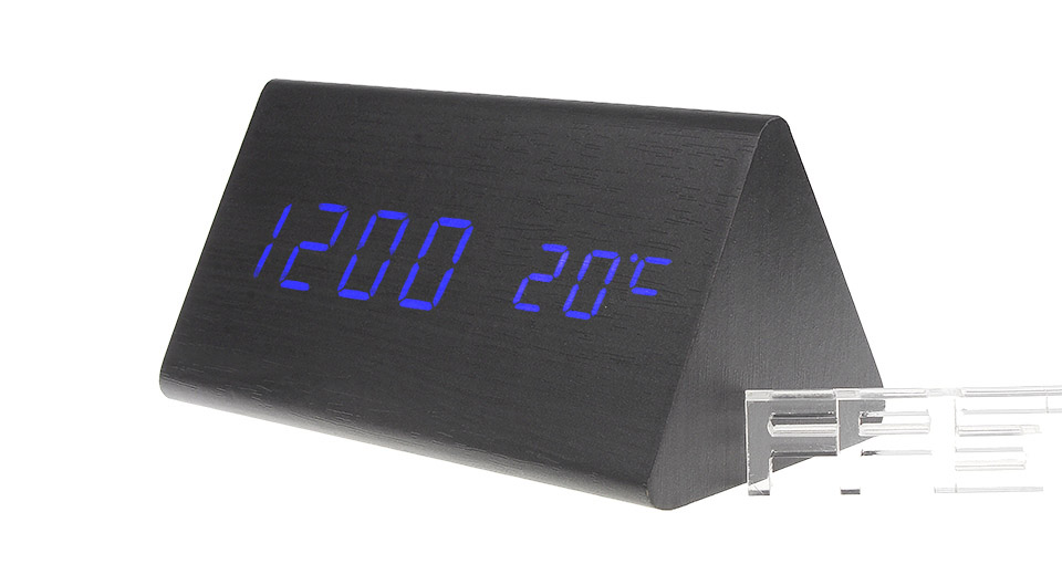 Wooden Triangle Blue LED Digital Alarm Clock Triangle, Black, Blue Character