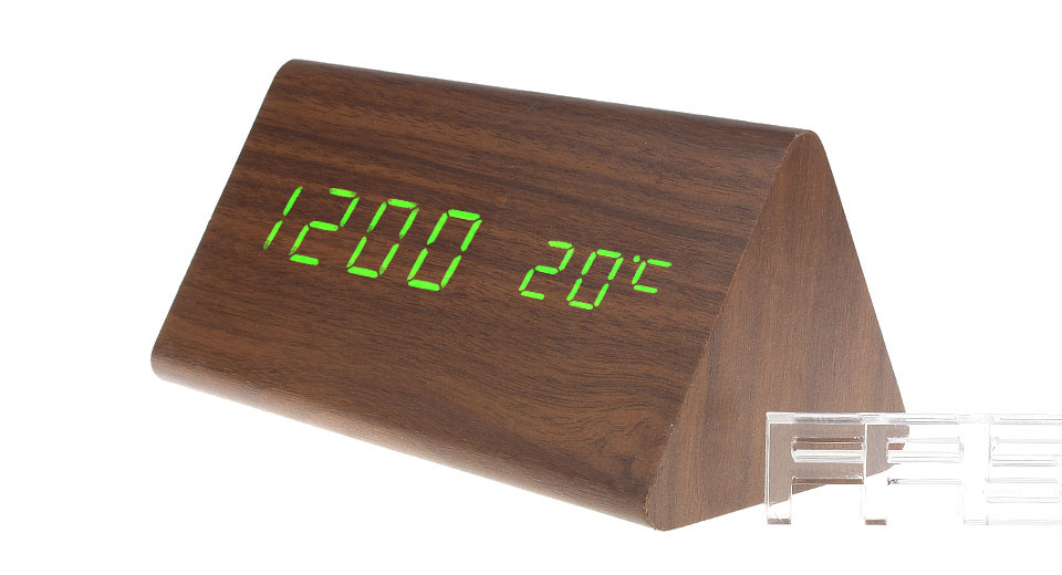 Wooden Triangle Green LED Digital Alarm Clock Triangle, Brown, Green Character