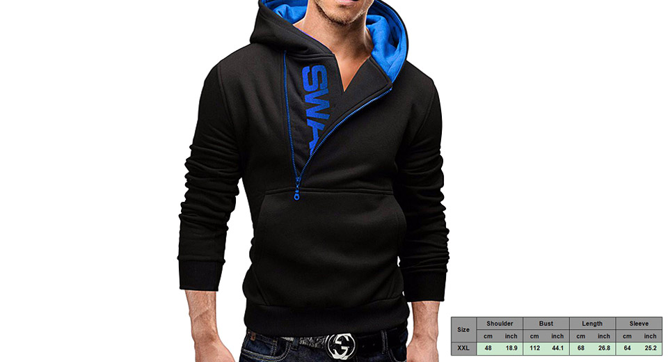 Image of Men's Half Zipper Front Pocket Letters Print Casual Hoodie (Size 2XL)