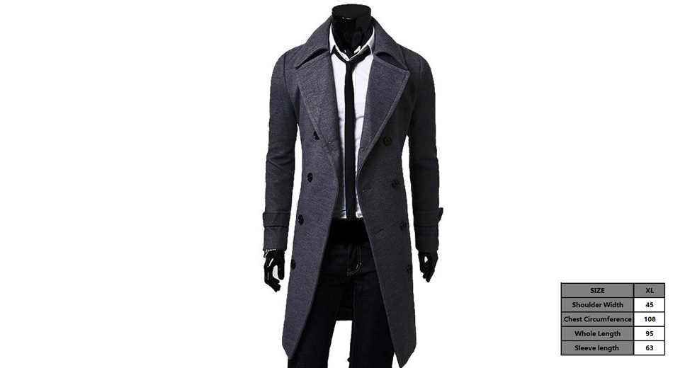 Men's Wide Lapel Double Breasted Wool Blend Overcoat (Size XL)