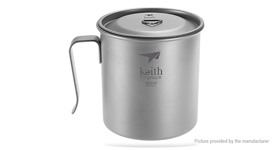 Keith Ti3266 Titanium Single-wall Vacuum Cup Mug (550ml)