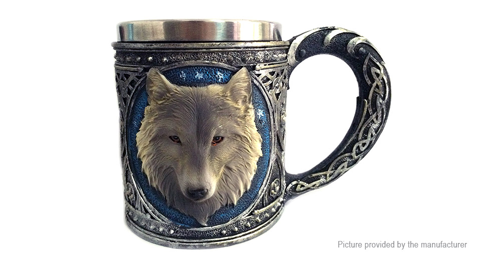 Wolf Head Styled Stainless Steel Coffee Mug Cup (450ml)