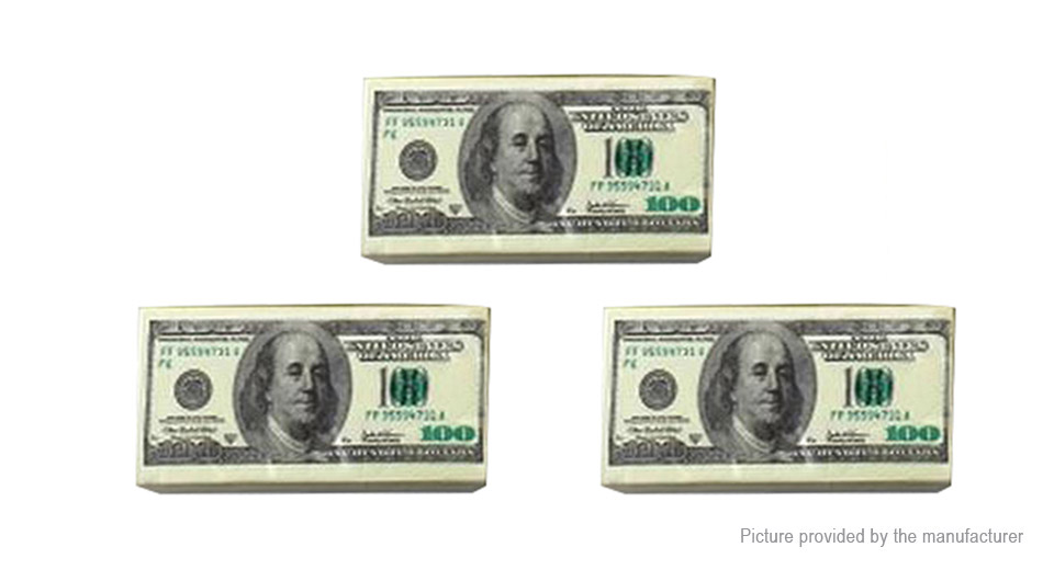 Image of $100 US Dollar Bill Money Pocket Tissue Napkin Paper Joke Gift (3-Pack)