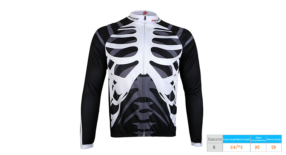 ARSUXEO Men's Skeleton Pattern Outdoor Cycling Jersey (Size M)
