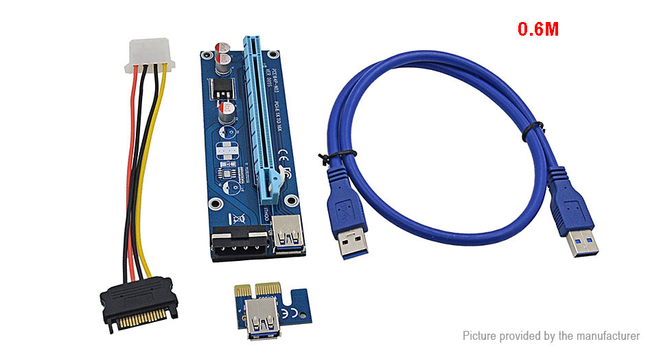PCIe 1X to 16X Riser Card Extension Cable Converter for Bitcoin Miner (60cm)