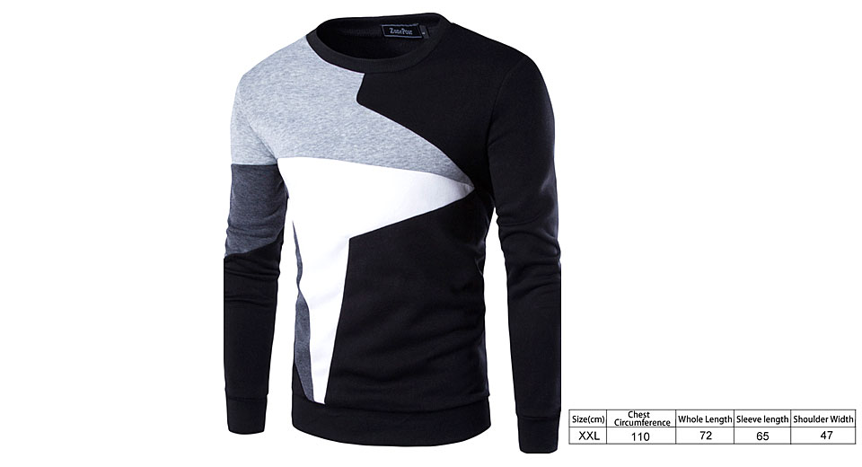 Image of Men's Long Sleeve Contrast Color Patchwork Casual Sweatshirt (Size 2XL)