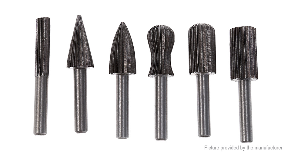 High Carbon Steel Woodworking Rotary File Drill Bit (6 Pieces) 6 Pieces, Black