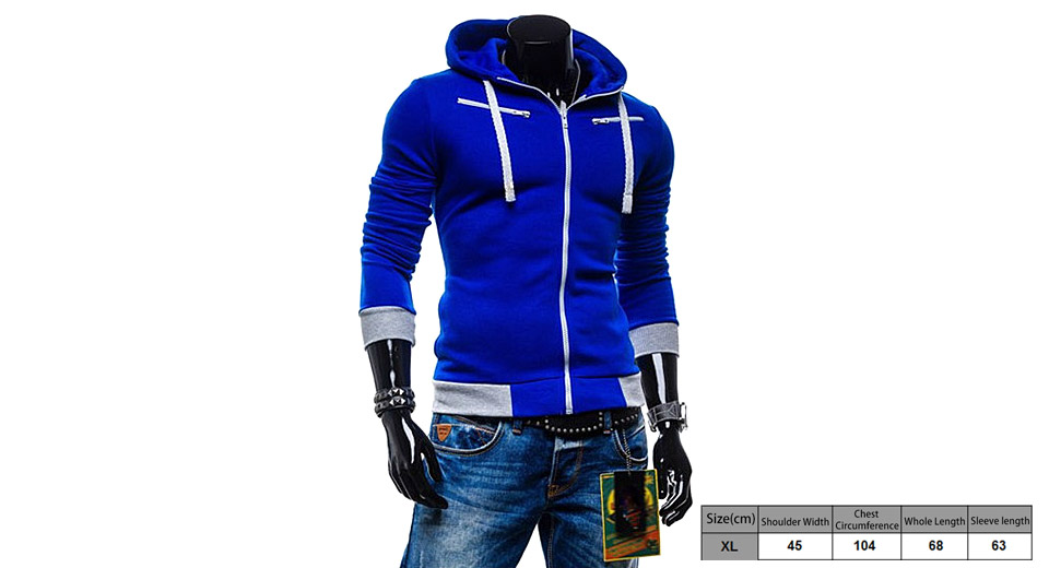 Men's Drawstring Zippered Color Splicing Hoodie Hooded Coat (Size XL)