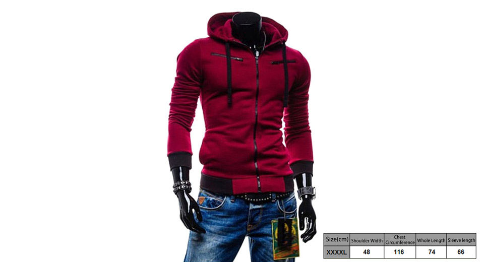 Men's Drawstring Zippered Color Splicing Hoodie Hooded Coat (Size 4XL)