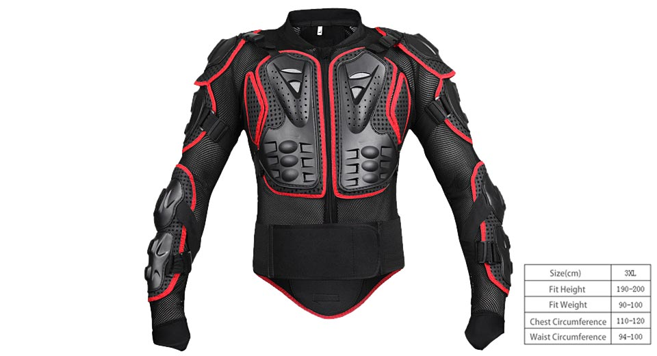 Motorcycle Full Body Armor Protective Jacket Guard Gear (Size 3XL)