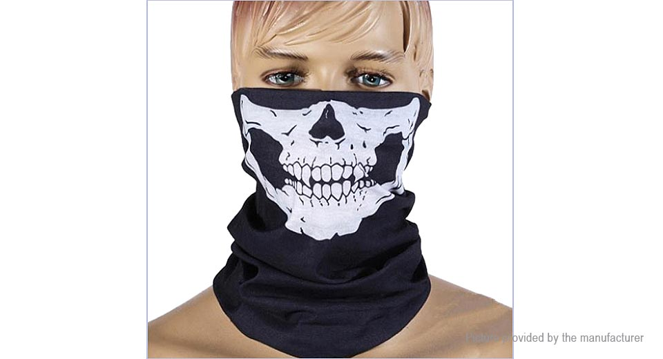 Image of Skull Pattern Multi Use Face Mask Scarf Head Wear Hat