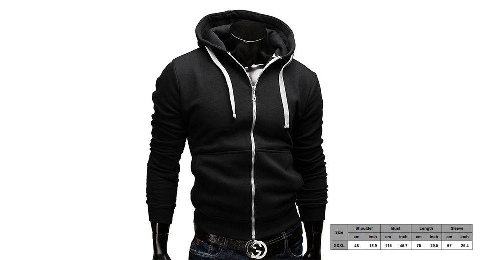 Men's Drawstring Zip Casual Hoodie Hooded Coat (Size 3XL) Black + White, Size 3XL