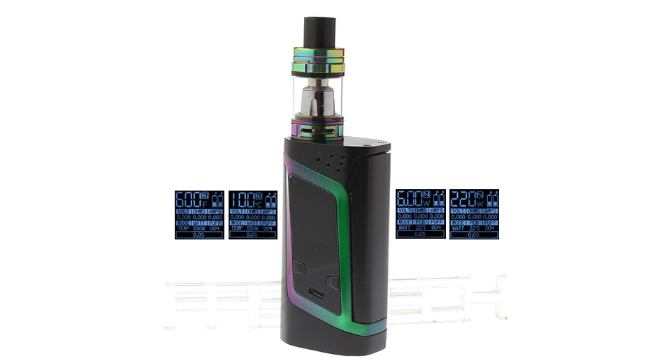 Authentic Smoktech SMOK Alien 220W TC VW APV Box Mod Kit 220W, TFV8 Baby Clearo., Rainbow