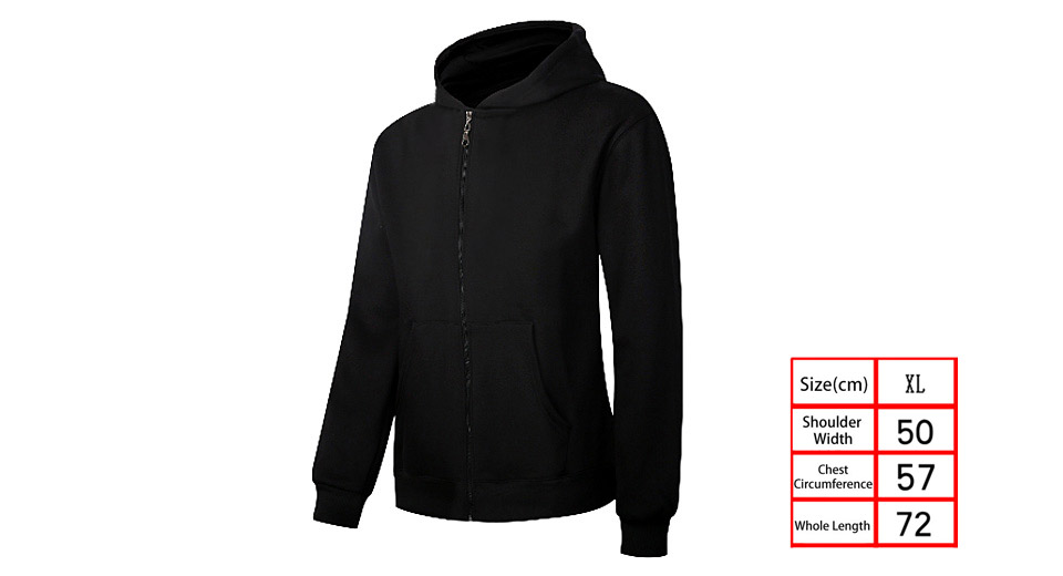 Unisex Drawstring Long Sleeve Thicken Hoodie Zip Up Hooded Coat (Size XL)