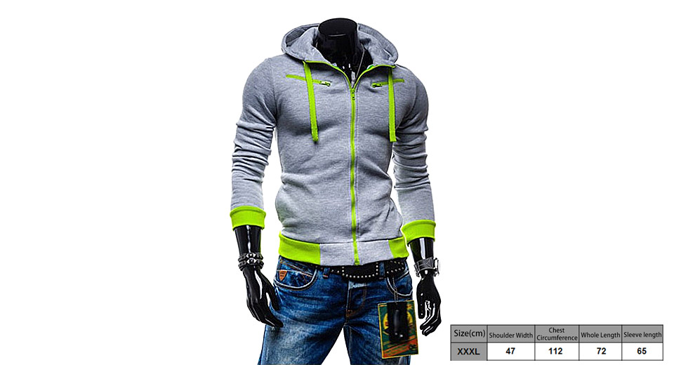 Men's Drawstring Zippered Color Splicing Hoodie Hooded Coat (Size 3XL)
