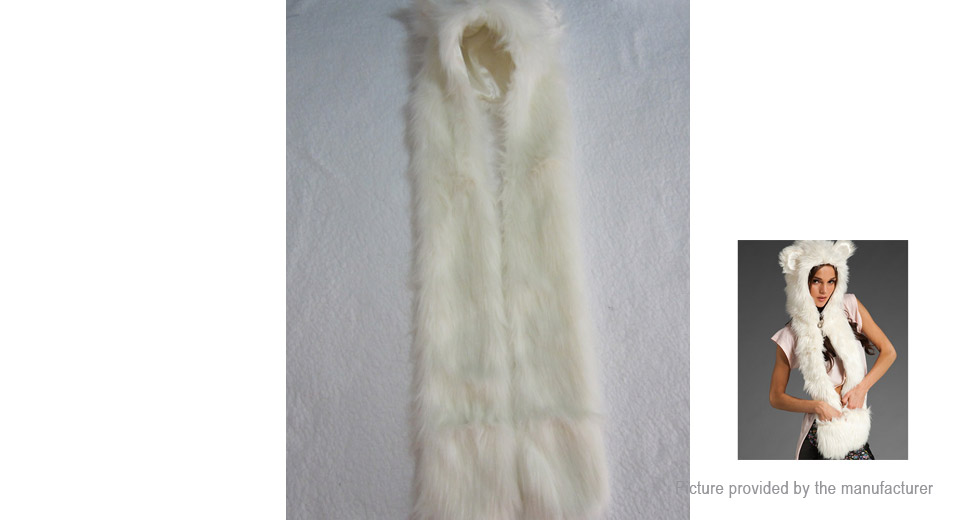 Image of 3-in-1 Animal Faux Fur Winter Warm Hat Scarf Gloves
