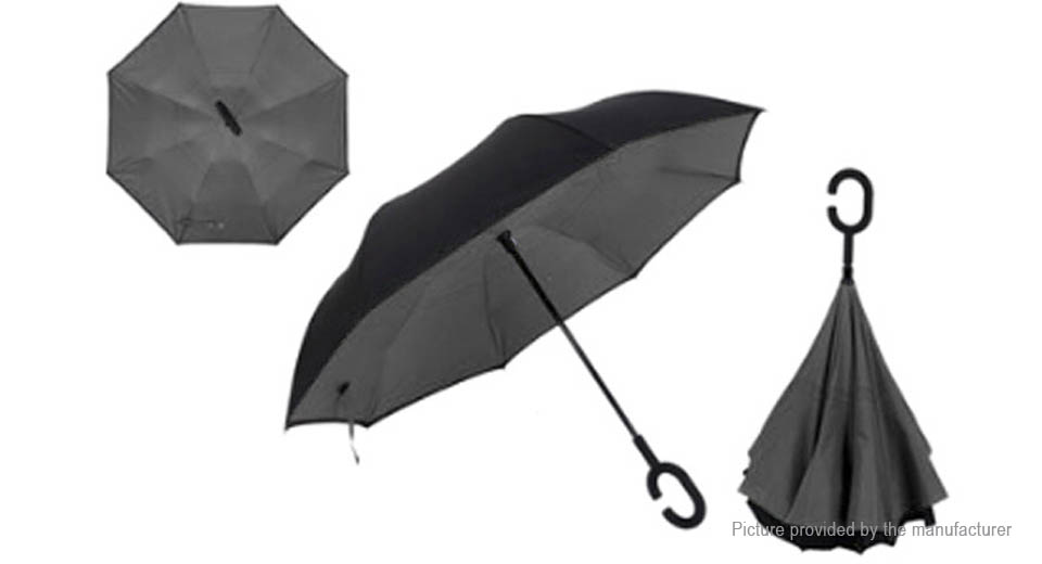 Image of Creative C-Shaped Handle Double Layer Inverted Umbrella