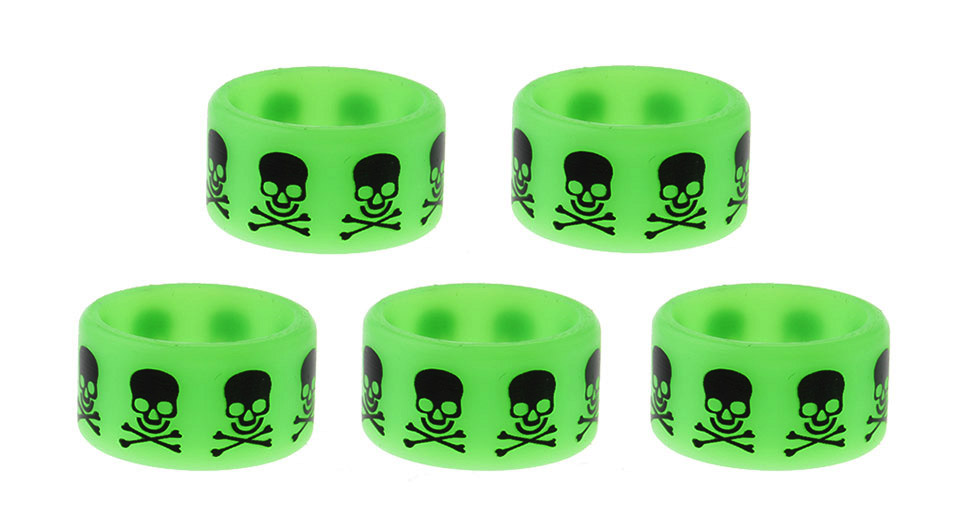 Silicone Anti-slip Ring for E-Cigarette Atomizers / Mods (5-Pack) 22mm, Skull Head, Green, 5-Pack
