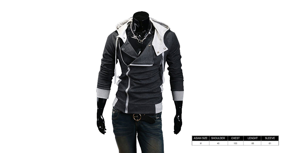 Men's Inclined Zipper Turn-down Collar Color Splicing Hooded Coat (Size M)
