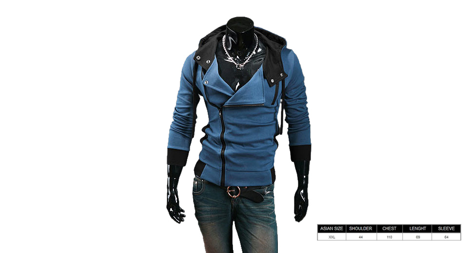 Men's Inclined Zipper Turn-down Collar Color Splicing Hooded Coat (Size 2XL)