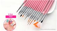 Buy Nail Art Painting Polish Brush Dotting Drawing Tool (2-Set) 15 Pieces, Pink, 2-Set