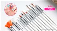 Buy Nail Art Painting Polish Brush Dotting Drawing Tool (2-Set) 15 Pieces, White, 2-Set