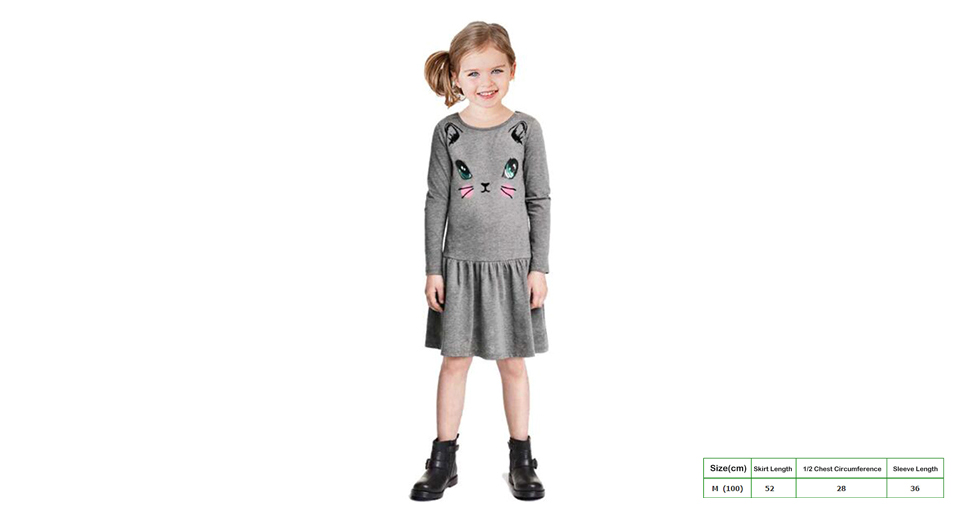 Baby Girl's Cartoon Cat Print Long Sleeve Cotton Dress (Size M)