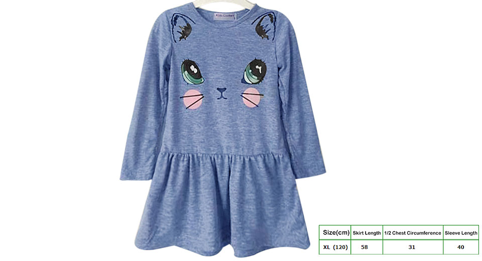 Baby Girl's Cartoon Cat Print Long Sleeve Cotton Dress (Size XL)
