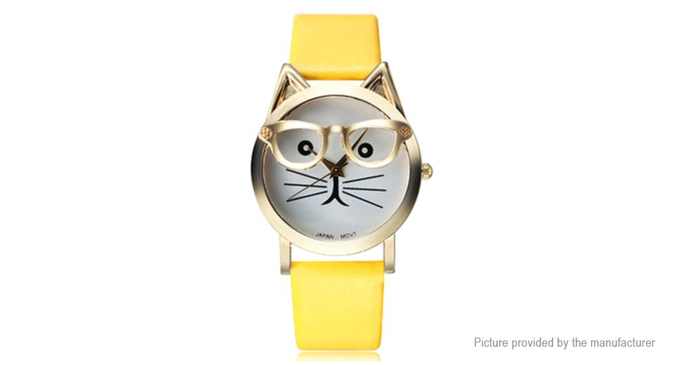 Image of Fashion Cat with Glasses Round Dial PU Leather Band Women Quartz Wrist Watch