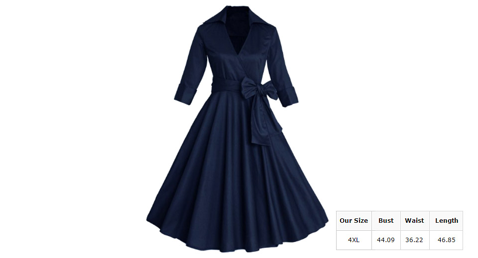Image of Women's 3/4 Sleeve High Waist Belted Flare Midi Dress (Size 4XL)