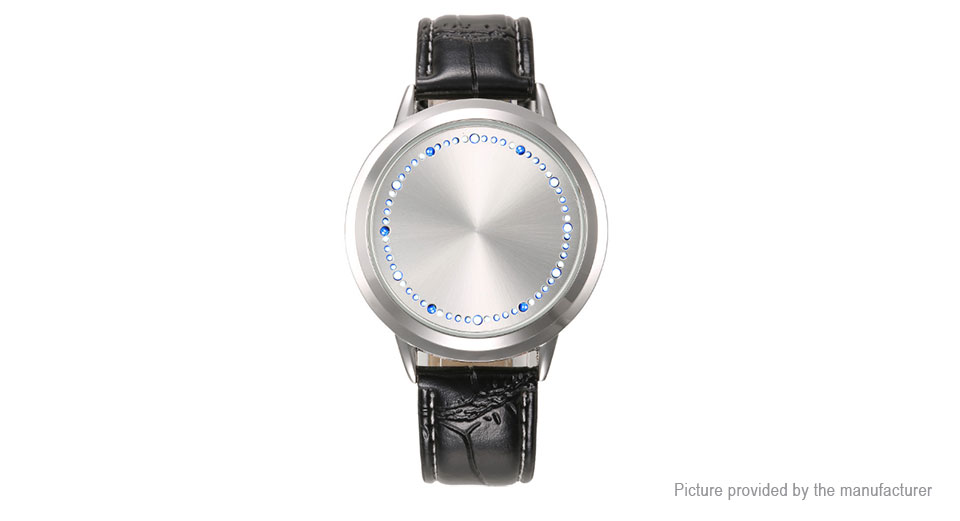 Image of Blank Dial Leather Band Touch Screen LED Digital Quartz Wrist Watch