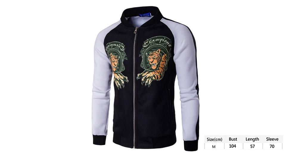 Men's Stand Collar Color Splicing Tiger Print Jacket (Size M)