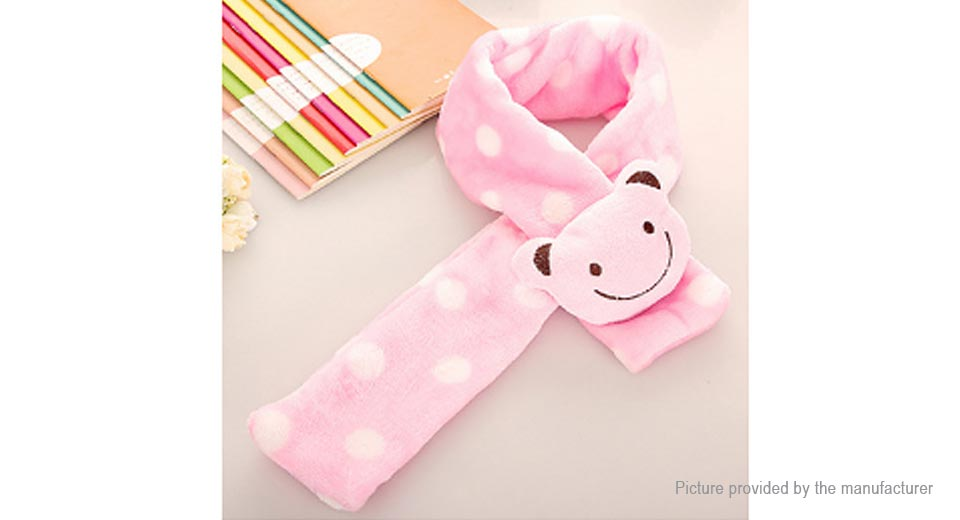 Baby Kid Cartoon Bear Polka Dot Winter Warm Flannel Scarf