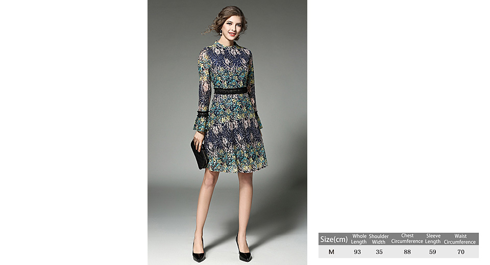 Women's Elegant Floral Print Long Sleeve Fit Flare Dress (Size M) Yellow, Size M