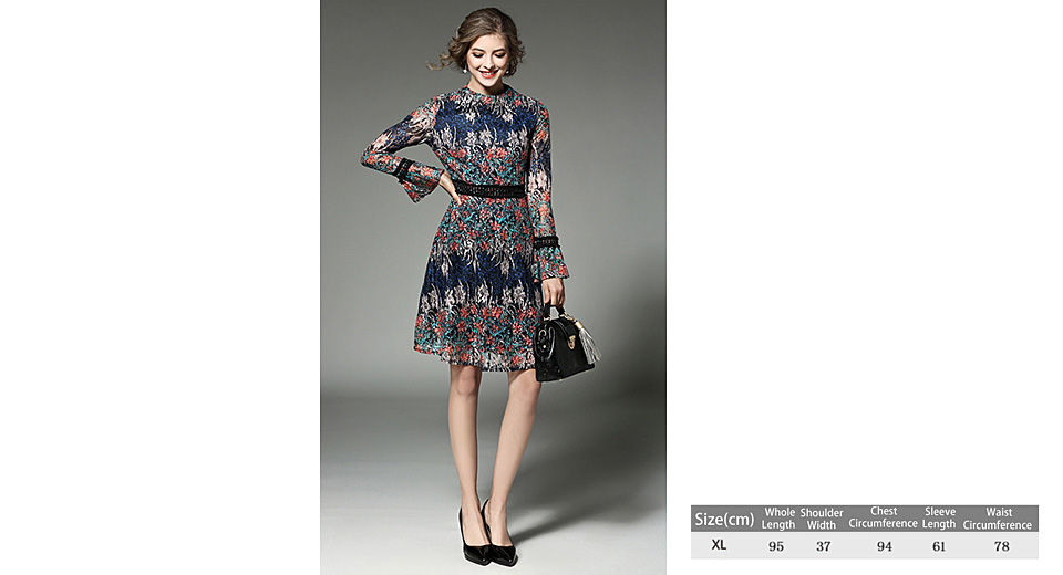 Women's Elegant Floral Print Long Sleeve Fit Flare Dress (Size XL) Orange, Size XL