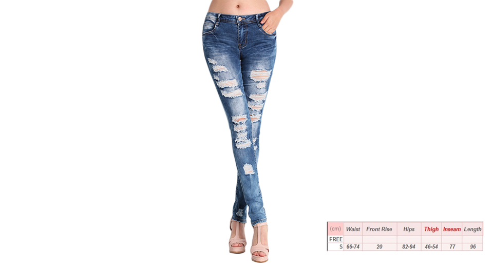 Women's Casual Ripped Washed Distressed Skinny Denim Jeans (Size S) Blue, Size S