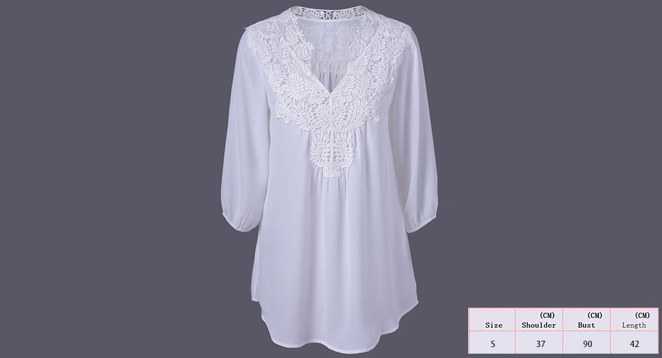 Women's Long Sleeve V Neck Lace Crochet Blouse Shirt (Size S) White, Size S
