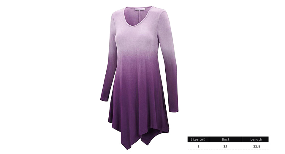 Women's Long Sleeve Asymmetrical Hem Tie-Dye Ombre T-Shirt (Size S) Purple, Size S