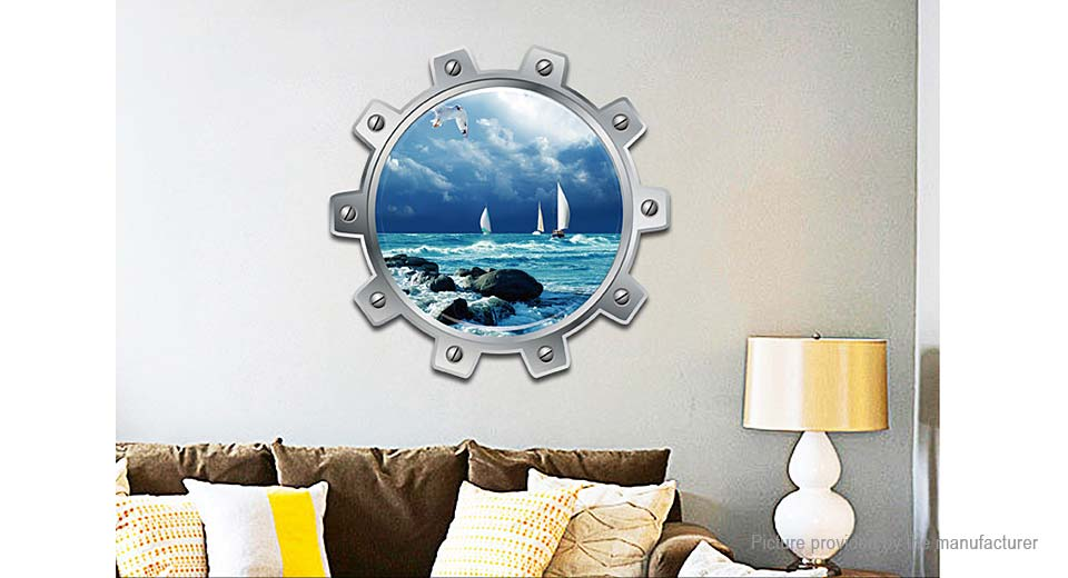 3D Ocean Sailboat Styled Removable Wall Sticker Home Decor