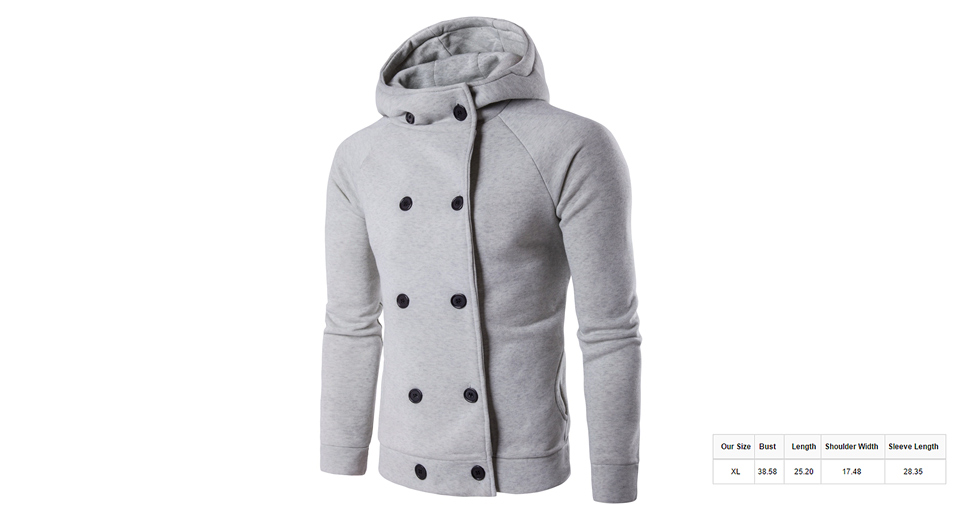 Men's Raglan Sleeve Double Breasted Slim Fit Hooded Coat (Size XL) Light Grey, Size XL