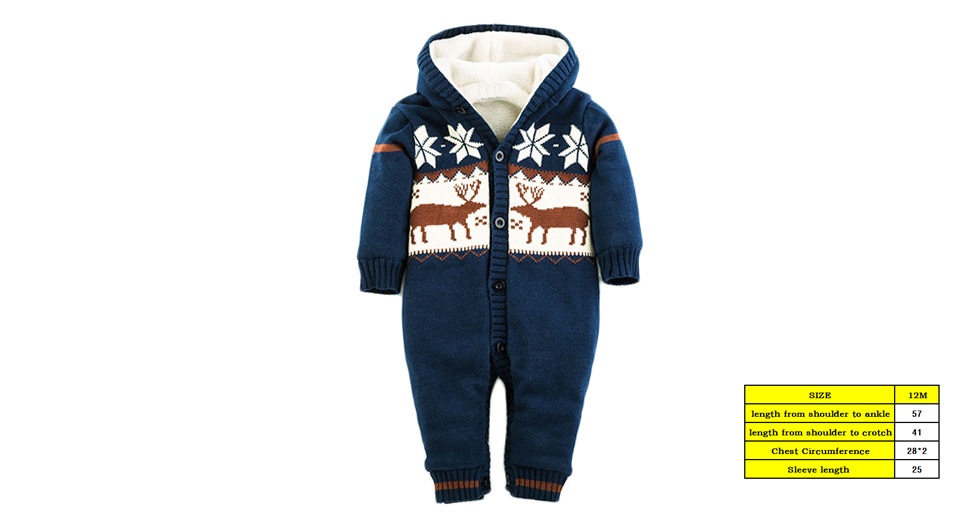 Baby Infant Toddler Elk Pattern Hooded Thicken Romper Jumpsuit (Size 12M/66cm)