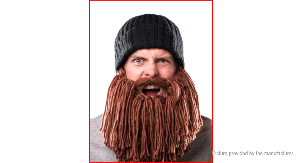 Image of Adults' Unisex Winter Warm Knit Beard Mustache Beanie Hat